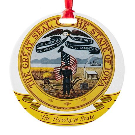 Iowa Seal Round Ornament