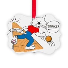Bowling Cat in Color II Ornament