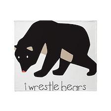 I Wrestle Bears Throw Blanket