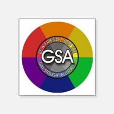 "GSAbuttonRainbow Square Sticker 3"" x 3"""