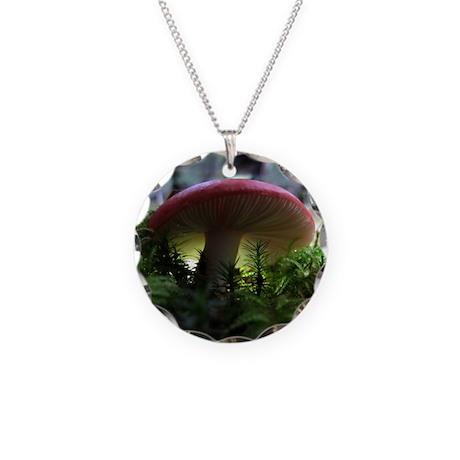redmushroomlapelsticker Necklace Circle Charm
