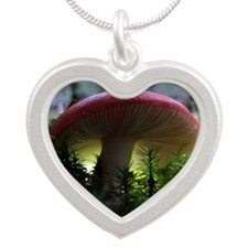 redmushroomlapelsticker Silver Heart Necklace