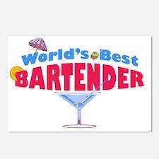 world-best-bartender-ligh Postcards (Package of 8)