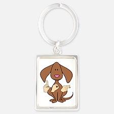 DogPaintedDk Portrait Keychain