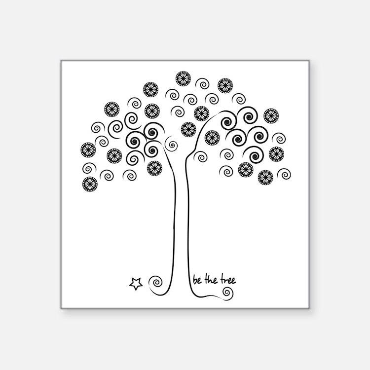 "tree-blk Square Sticker 3"" x 3"""