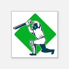 "Ncricket sports batsman bat Square Sticker 3"" x 3"""