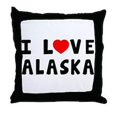 I Love Alaska Throw Pillow