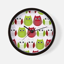 Retro Mod Christmas Polka Dot Owls Wall Clock