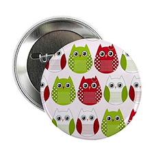 "Retro Mod Christmas Polka Dot Owls 2.25"" Button"