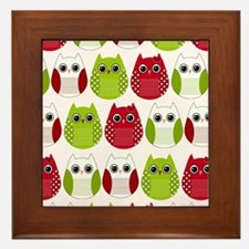 Retro Mod Christmas Polka Dot Owls Framed Tile