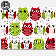 Retro Mod Christmas Polka Dot Owls Puzzle