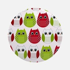 Retro Mod Christmas Polka Dot Owls Round Ornament