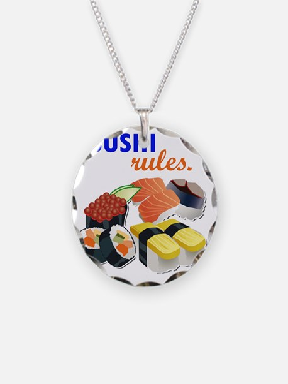 Sushi Platter Necklace Circle Charm