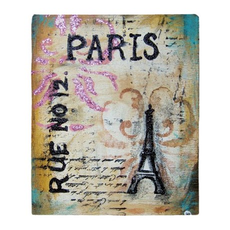 cafe9x12eiffel Throw Blanket
