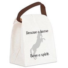 rescue a horse save a spirit bw Canvas Lunch Bag