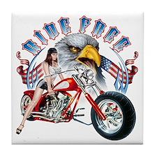 CP1011-Ride Free Babe And Eagle Tile Coaster