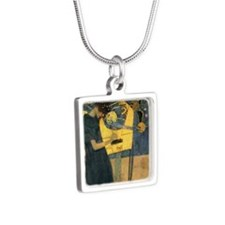 Gustav Klimt - Music Silver Square Necklace