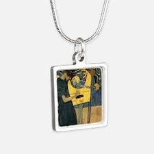 Gustav Klimt - Music Silver Square Necklace