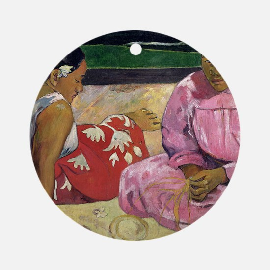 Women of Tahiti, On the Beach by Pa Round Ornament