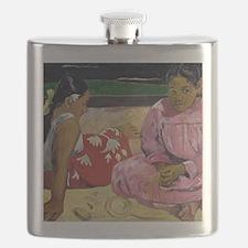 Women of Tahiti, On the Beach by Paul Gaugui Flask