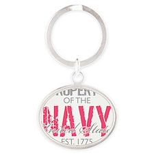 PropertyoftheUSNavyPink Oval Keychain