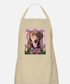Mothers_Day_Pink_Tulips_Labrador_Chocolate_M Apron