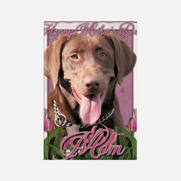 Mothers_Day_Pink_Tulips_Labrador_ Rectangle Magnet
