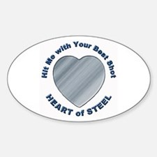 Anti-Valentine Heart of Steel Oval Decal