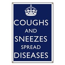 Coughs and Sneezes Poster - Navy Blue Banner