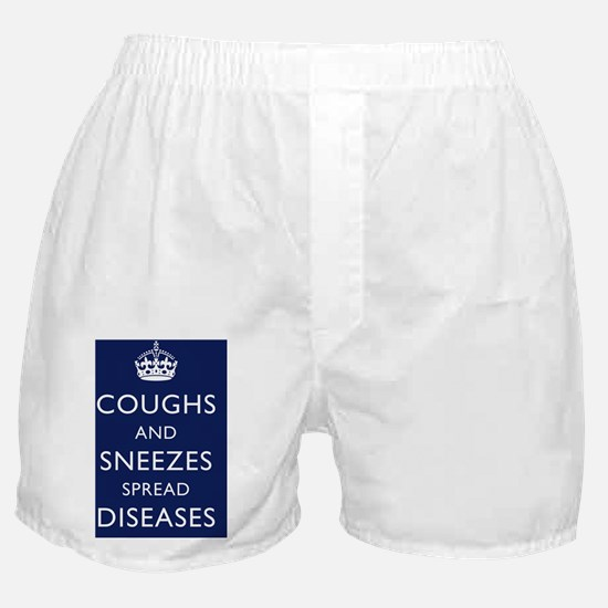 Coughs and Sneezes Poster - Navy Blue Boxer Shorts