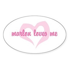 """marlon loves me"" Oval Decal"