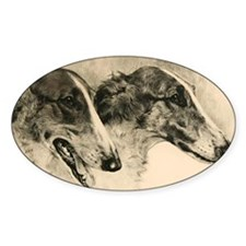 2 Borzoi Heads Decal