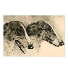 2 Borzoi Heads Postcards (Package of 8)