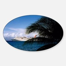 Carnival docked at Grand Cayman14x1 Sticker (Oval)
