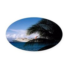 Carnival docked at Grand Cayman14x Oval Car Magnet