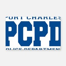 PCPD blue Rectangle Car Magnet