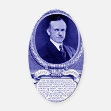 Coolidge-quote-card-blue Oval Car Magnet
