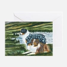 aussie blue and red in feild Greeting Card