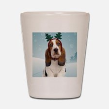 cp_bassetxmascardfront Shot Glass