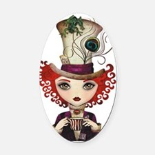 Lady Hatter Oval Car Magnet