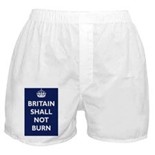 Britain Shall Not Burn Poster - Navy Boxer Shorts
