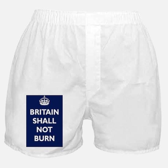 Britain Shall Not Burn Poster - Navy Boxer Shorts