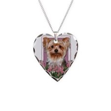 Pink_Tulips_Yorkshire_Terrier Necklace