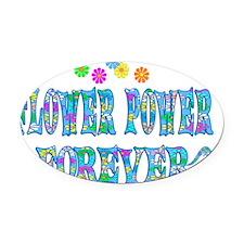 Flowerpower Oval Car Magnet