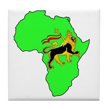 Green Africa Lion Tile Coaster