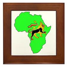 Green Africa Lion Framed Tile