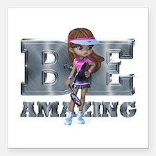 "Be Amazing Tennis Square Car Magnet 3"" x 3"""