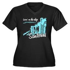 santorini8 Women's Plus Size Dark V-Neck T-Shirt