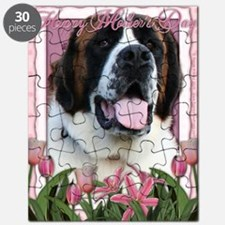 Mothers_Day_Pink_Tulips_Saint_Bernard_Mae Puzzle