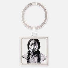 Sitting Bull Dark Huge Square Keychain
